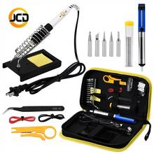 JCDsolder 60w 220v Adjustable Temperature Soldering Iron Kit  yellow set +5 Tips+Desoldering Pump+Soldering Iron Stand