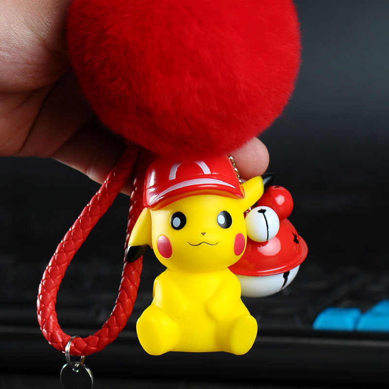 Bonito dos desenhos animados Anime Pokemon Pikachu Pocket Monsters Rabbit Fur Pom Pom Mulheres Chaveiro Carro Bolsa Pingente Chaveiro Trinket Llaveros