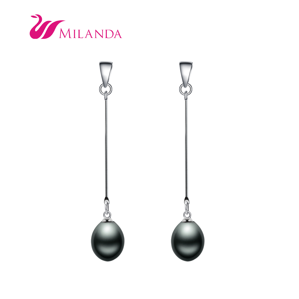 100 Natural Freshwater Pearl Dangle Earrings 925 Silver Black Long Fashion For Women In Drop From Jewelry Accessories On