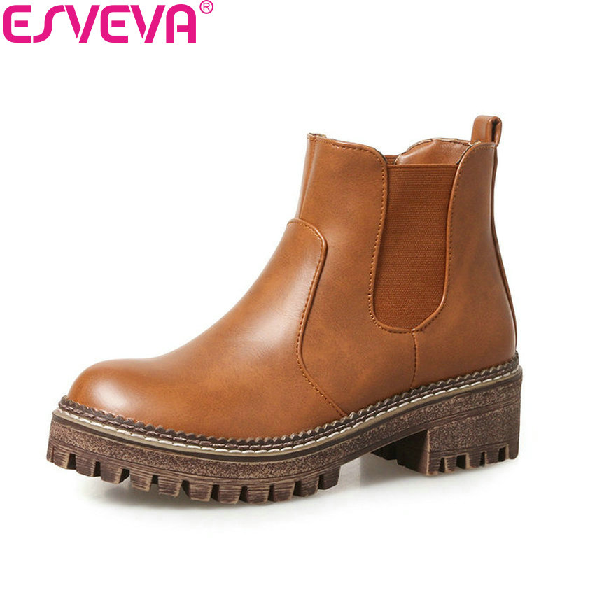 ESVEVA 2018 Women Boots High Heel Autumn and Spring Shoes Synthetic Western Style PU Leather Square Heel Ankle Boots Size 34-43 vinlle women boot square low heel pu leather rivets zipper solid ankle boots western style round lady motorcycle boot size 34 43