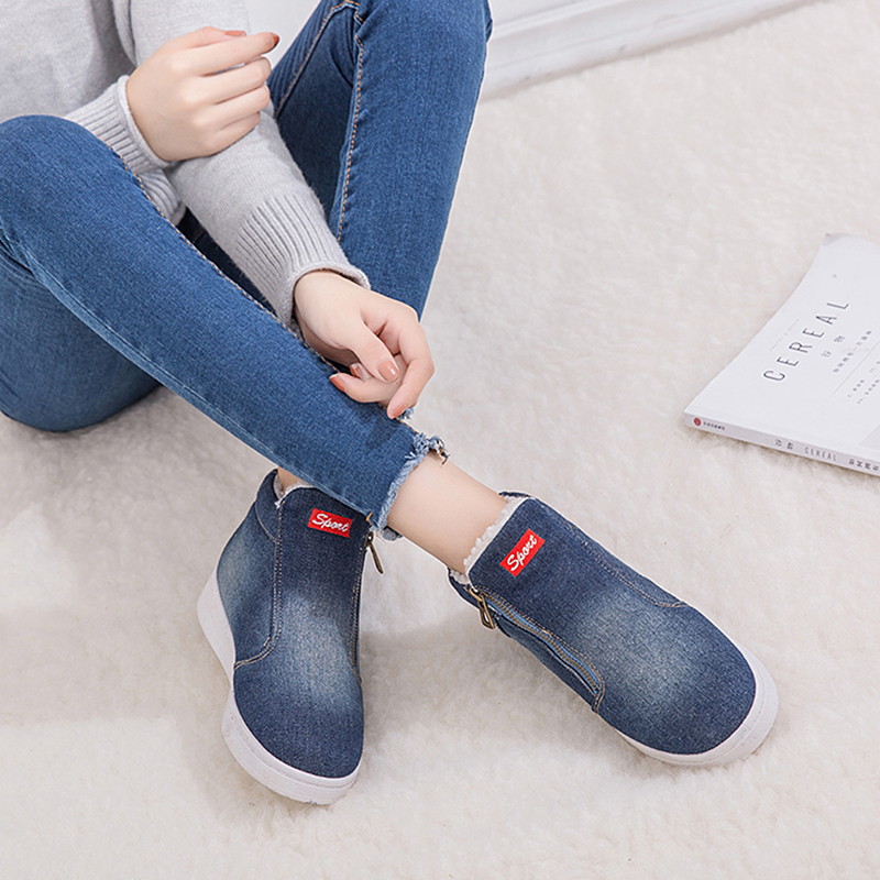 compare price good service world-wide free shipping US $11.55 49% OFF|Casual Shoes Women Winter Boots Fleece Lined Female Ankle  Boots Ladies Platform Shoes Woman Sneakers Denim Chaussures Femme-in Ankle  ...