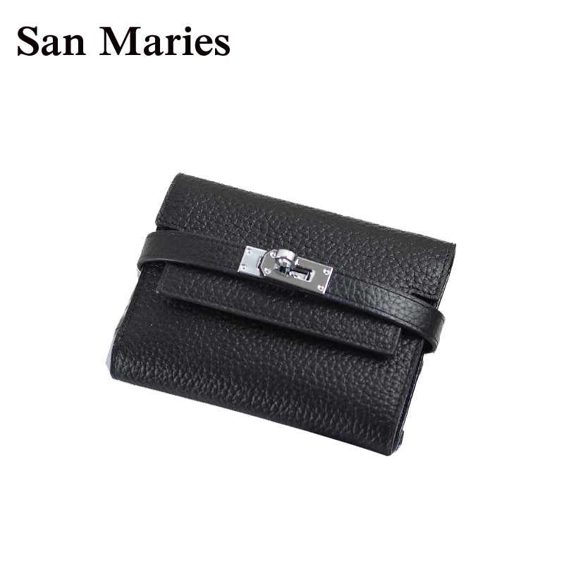 San Maries Super Gift !! Luxury Women Wallets And Purses Famous Brand Designer Short Genuine Leather Girls Wallet High Quality