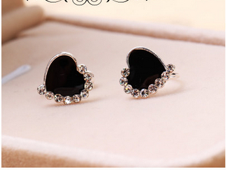 Symmetrical U-shaped ear clip Girl Black crystal love without Pierced Earrings LM-C262