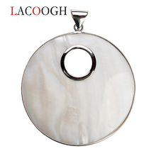 где купить 1PC 61x80mm Silver Color Big Round White Natural Mother of Pearl Shell Pendant Charm for DIY Necklace Jewelry Making Accessories по лучшей цене