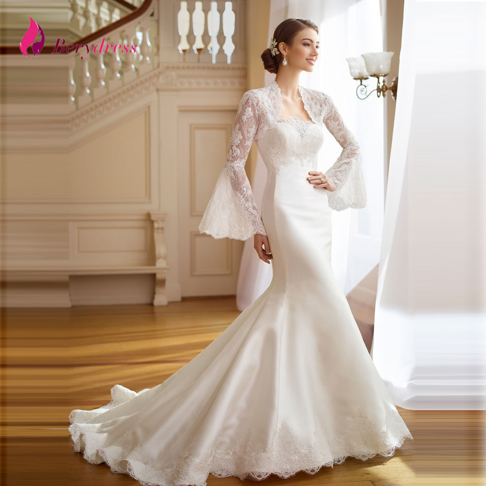 Wedding Dresses With Sweetheart Neckline And Sleeves: Modest Two Piece Wedding Dress Mermaid Lace Sweetheart