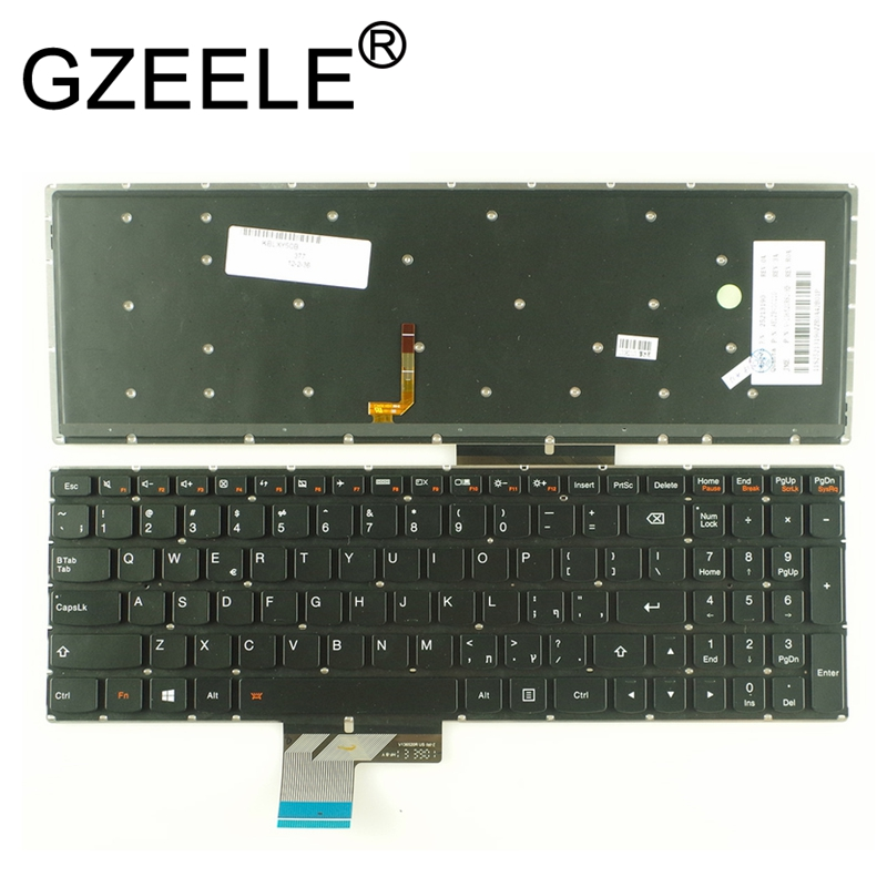GZEELE English laptop Backlit keyboard for Lenovo IdeaPad Y50 Y50-70 Y50-70AS Y50-80 U530 U530P-IFI Keyboard US Version black laptop keyboard for sony vpcz2 black without frame with backlit us english version
