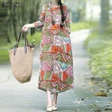 ZANZEA Women Long Maxi Dress Ladies Summer Sundress 2019 Autumn Sleeve Print Bohemian Vestidos Robe Femme Plus Size