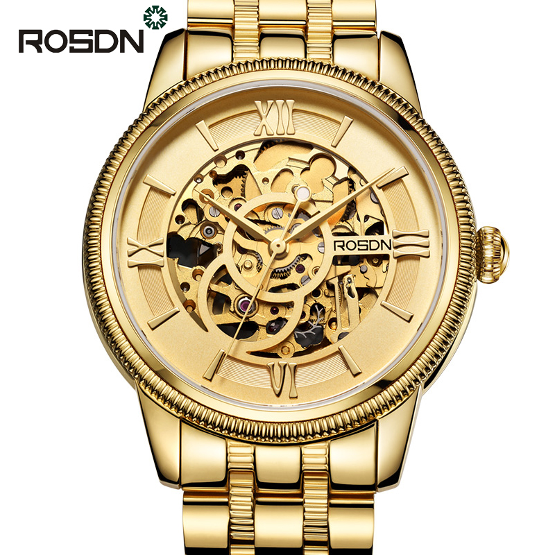 aliexpress com buy rosdn men automatic mechanical watches top aliexpress com buy rosdn men automatic mechanical watches top brand luxury sapphire crystal gold skeleton watch men full steel military army watch from