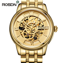 ROSDN Men Automatic Mechanical Watches Top Brand Luxury Sapphire Crystal Gold Skeleton Watch Men Full Steel Military Army Watch