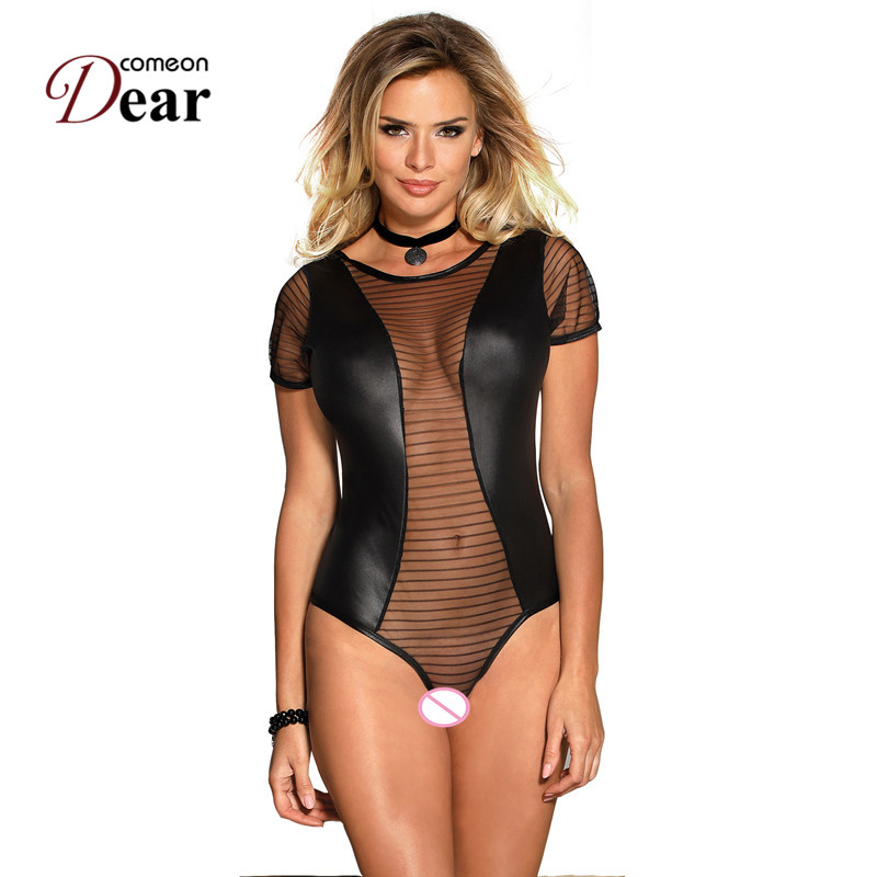 Comeondear Womens Rompers   Jumpsuit   Black Lace Leather Stitching Top Dentelle Large Size Bodycon Romper Bodysuit RJ80642