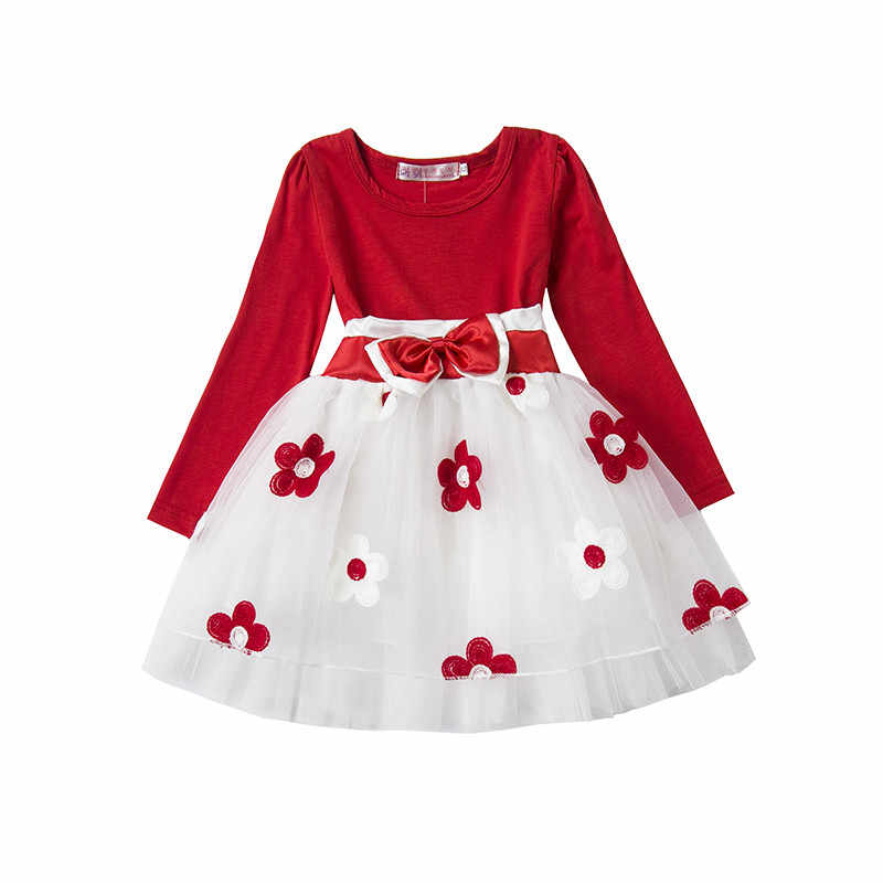 eb481e9c239 Cute Bebes Flower Dress 1 2 years Baby Birthday Party Wear vestido infantil  Kids Long Sleeves