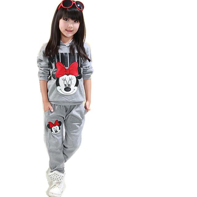 2017 otoño invierno de las muchachas que arropan la historieta de minnie mouse para niños ropa de algodón ocasional chándales de los niños de ropa para traje deportes