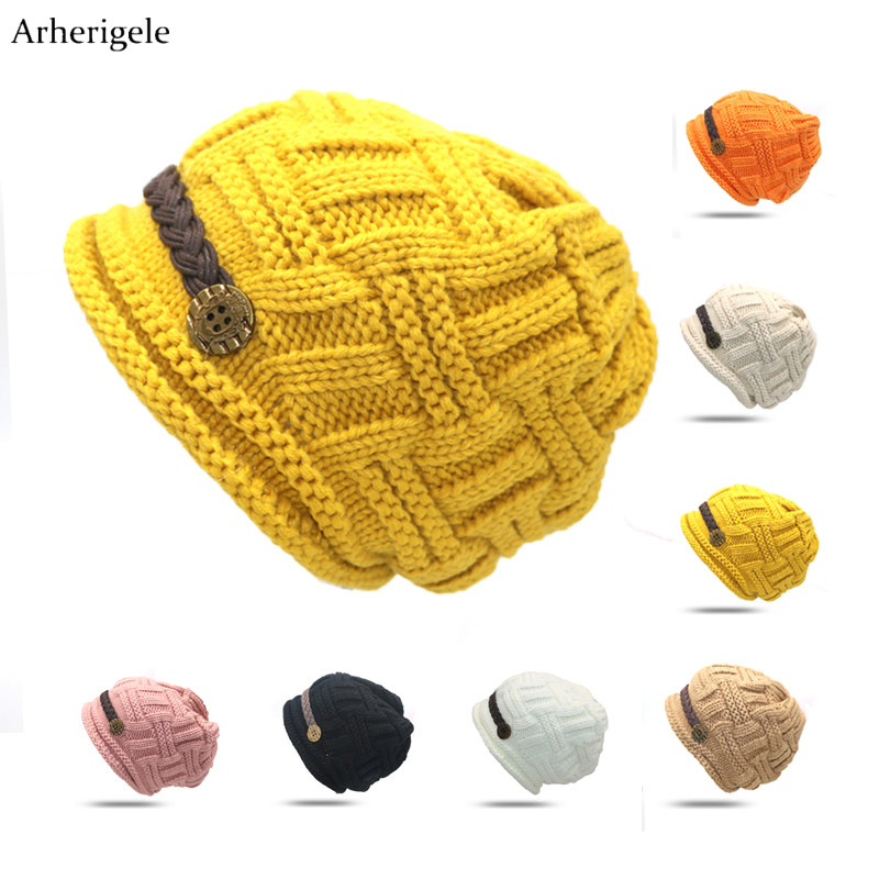Arherigele Winter Woman Beanies Hat for Women Knitted Crochet Casual Hat Cap Solid Color Warm Women's Skullies Beanies Gorros