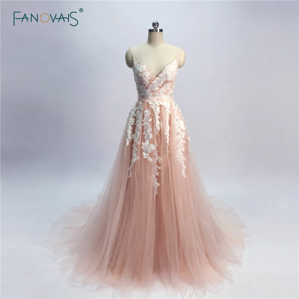 New Blush Pink Evening Dresses Long 2018 A-Line Evening Gown Beaded ...