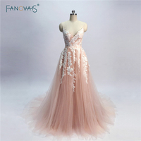 New Blush Pink Evening Dresses Long 2018 A Line Evening Gown Beaded Lace Evening Dress for Women Vestidos de Fiesta NE3