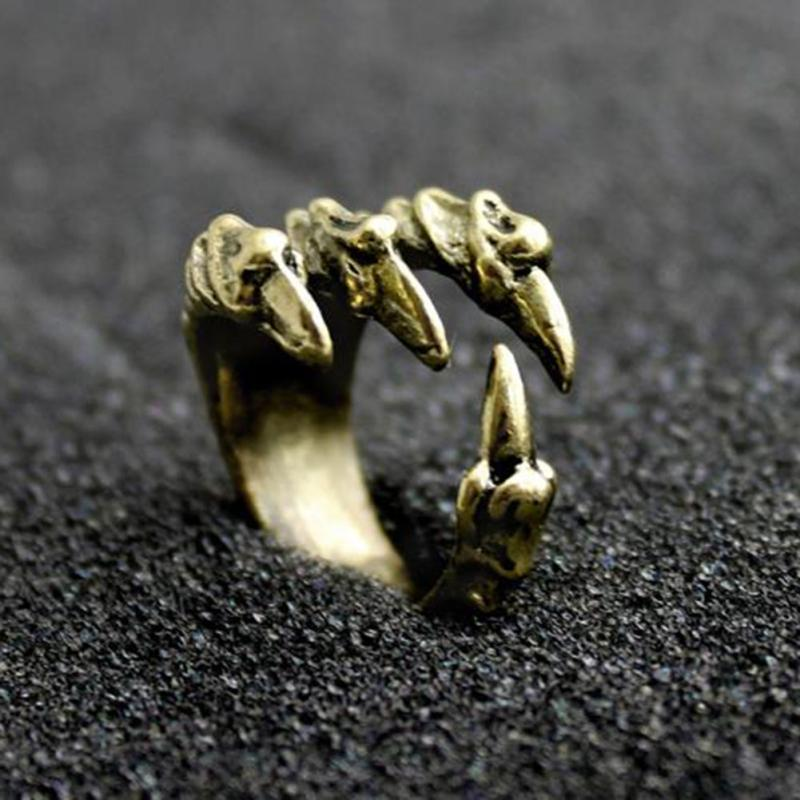 Punk Rock Mens Biker Rings Vintage Gothic Statement Antique Silver Gold Color Dragon Claw Ring for