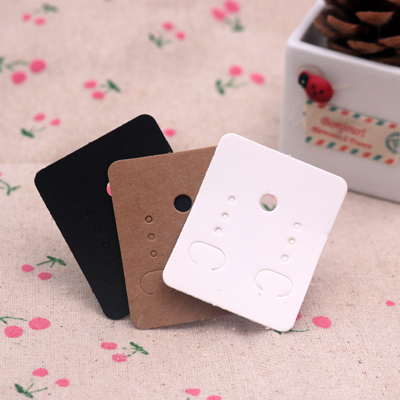 100Pcs 3.8*4.8cm Blank Kraft Paper Ear Studs Card Hang Tag Jewelry Display Earring Crads Favor Label Tag White Black Brown Color beard portrait pattern ancient palace bronze ear studs white black pair