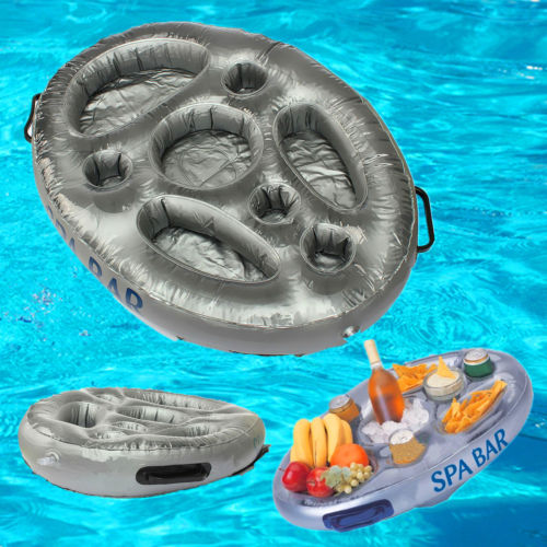 promotional foldable inflatable hot tub pool floating refreshment inflatable snacks serving bar tray snacks wine tray