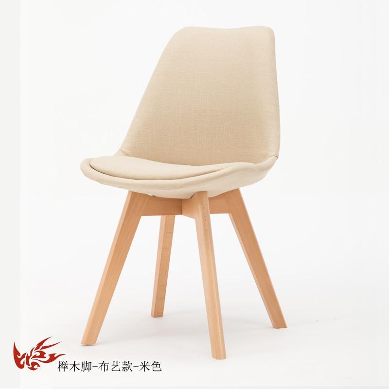 Простой стул Мода нордическая ткань; Массивная древесина обеденный стул кофе отель встречи, чтобы обсудить домашний табурет - Цвет: 10