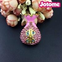 50/100pcs/lot 50mm Gold Tone Alloy Enamel Crystal Rhinestone Pink Money Purse Brooch pin For Clothing Decration