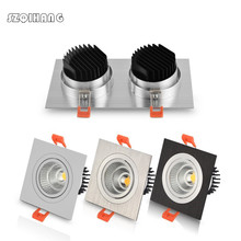 7w 10w 14w 20w AC85V-265V 110V / 220V Black White LED dimmable Ceiling square cob Downlight Recessed Wall lamp Spot light