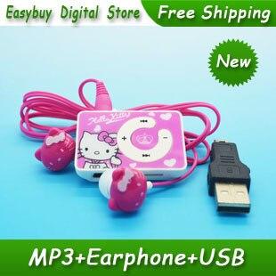 Высокое Качество Мини Hello Kitty MP3 Музыкальный Плеер Клип Mp3-плееры Поддержка TF Карта С Hello KItty Наушников и Мини-usb