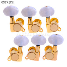 Ostrlch Set Acoustic Guitar Machine Heads 3L3R Gold Tuning Pegs Buttons Tuners White