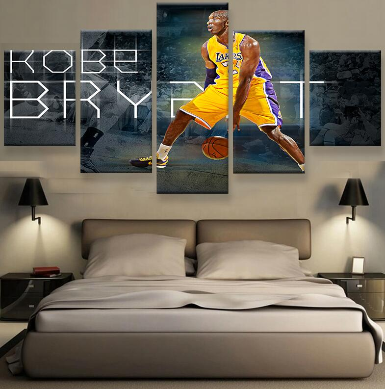 framed art 5pcs sport basketball poster painting modern home decor canvas art print wall art picture