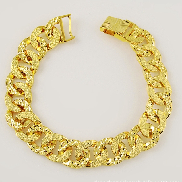 Patterned Wrist Chain Solid Yellow Gold Filled Womens Mens Bracelet