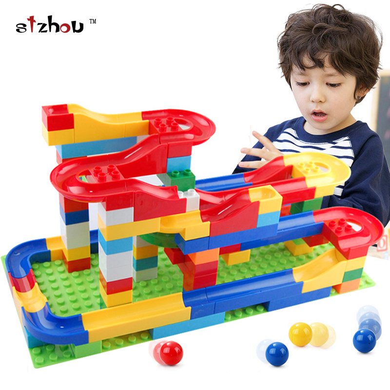 Free shipping DIY Construction Marble Race Run Maze Balls Track Plastic House Building Blocks Toys for kids Christmas No Box kids play outdoor sports games go kart race air track for balls inflatable race track