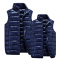 Autumn Winter Men's Casual Down Cotton Padded Vest Lovers Unisex Stand Collar Fashion Slim Cotton Vest  8Colors Plus Size 4XL
