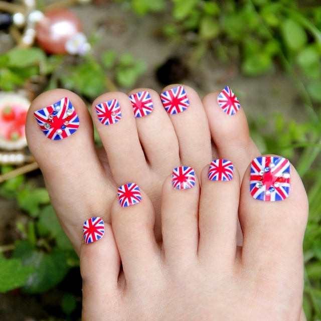 Crystal Uk Flag Pattern False Nails Art Decorationdaily Wear Ladies