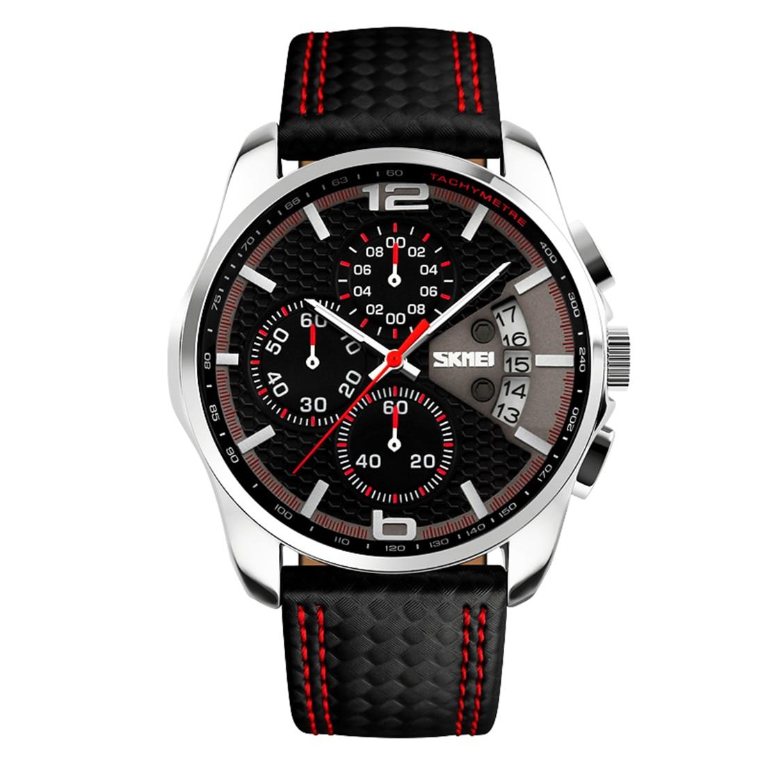 Hot sale men wristwatch dual time quartz watch tachymeter mens watches top brand luxury leather adjustable fashion sport watches