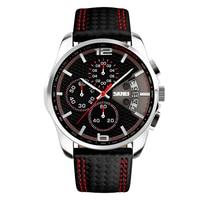Hot Sale Men Wristwatch Dual Time Quartz Watch Tachymeter Mens Watches Top Brand Luxury Leather Adjustable