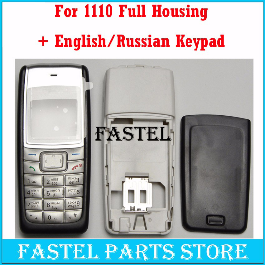 HKFASTEL New High Quality Cover For Nokia 1110 1112 Full Complete Mobile Phone Housing Cover Case English/Russian/Arabic Keypad