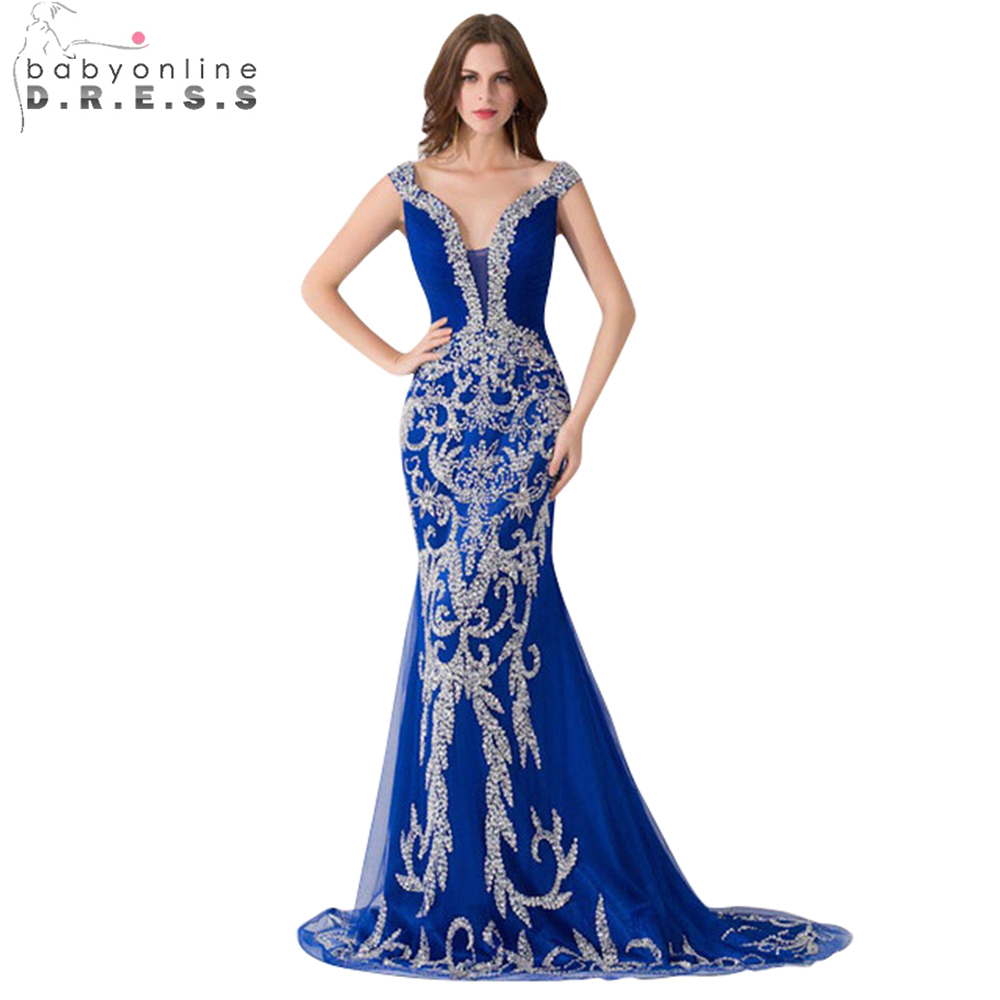 Royal Blue   Evening     Dress   2019 New Mermaid   Evening     Dress   V-neck Beading Tulle Party   Dresses   Long   Dress   Custom Made Real Photos
