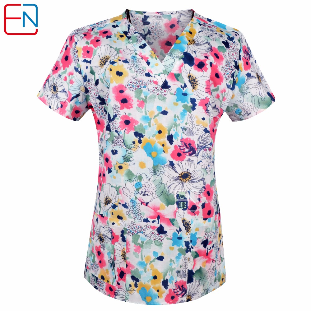 Novelty & Special Use Medical Hennar Women Scrub Tops Medical With V Neck 100% Cotton Surgical Short Sleeve Cartoon Print 2018 High Quality Scrubs Top Female Products Hot Sale