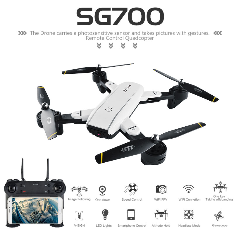 SG700 0.3MP or 2.0MP Drone With Camera Wifi FPV Foldable Selfie Drone Altitude Hold Headless RC Quadcopter Gesture Control Dron jmt cg030 foldable 0 3mp camera drone wifi fpv 6 axis gyro altitude hold headless rc quadcopter mini drone app control rc dron