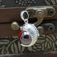 925 Silver Inlaid Diamond Crystal Silver Carp Elephant Red Corundum Beads Pendant In Sterling Silver Pendant