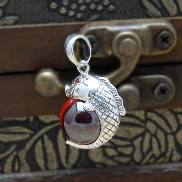 925 silver inlaid Zircon crystal silver carp elephant red corundum beads pendant in Sterling Silver Pendant elegant crystal zircon pendant necklace silver white red