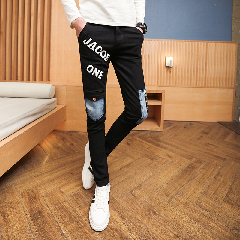 2017 Fashion Men's Jeans Solid Mid Slim Straight Leg Distressed Jeans High Quality pants Large Size:28-34