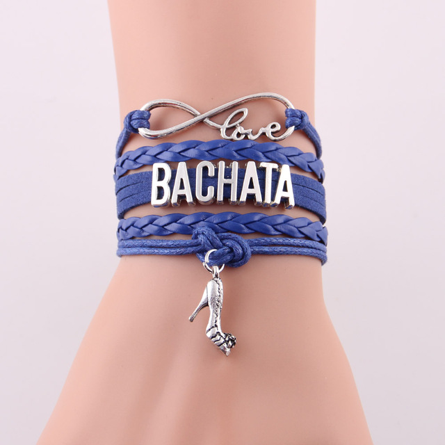Little MingLou Infinity love Bachata Bracelet high heels Charm bracelets & bangles for Women men leather braid suede jewelry