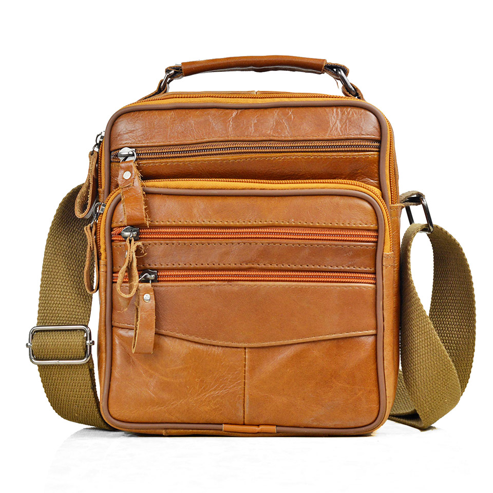 Brown Fashion Men Messenger Bags Genuine Leather Handbags For Man Luxury Brand Male Crossbody Bag For Mini Pad Boy Shoulder Bag