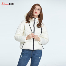 SheonDHF Women Parkas White Padded Quilted Coats And Down Short Jacket Winter Female Warm Jackets Windbreaker Coats Outerwear