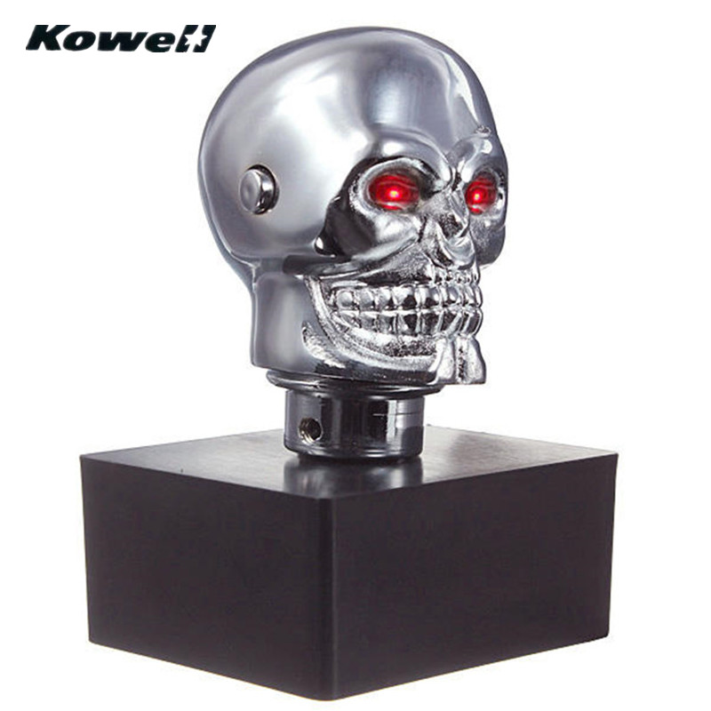 Image 3 - KOWELL Universal Led Eyes Skull Car Chrome Manual Transmission Gear Shift Knob for Volkswagen VW Golf for Lada for KIA for Ford-in Gear Shift Knob from Automobiles & Motorcycles