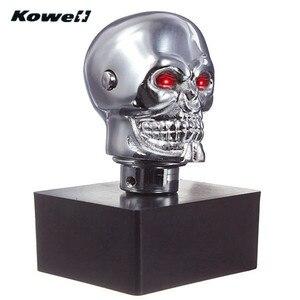 Image 3 - Kowell maçaneta de câmbio universal, equipamento para transmissão de carro com olhos de caveira, cromado, para volkswagen vw golf, lada for kia para ford ford