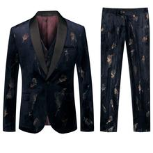 Mens Luxury Wedding Suits 2019 Italian Design Custom Royal Blue Print Tuxedo Jacket+vest+pants 3 Piece Groom Terno For Men