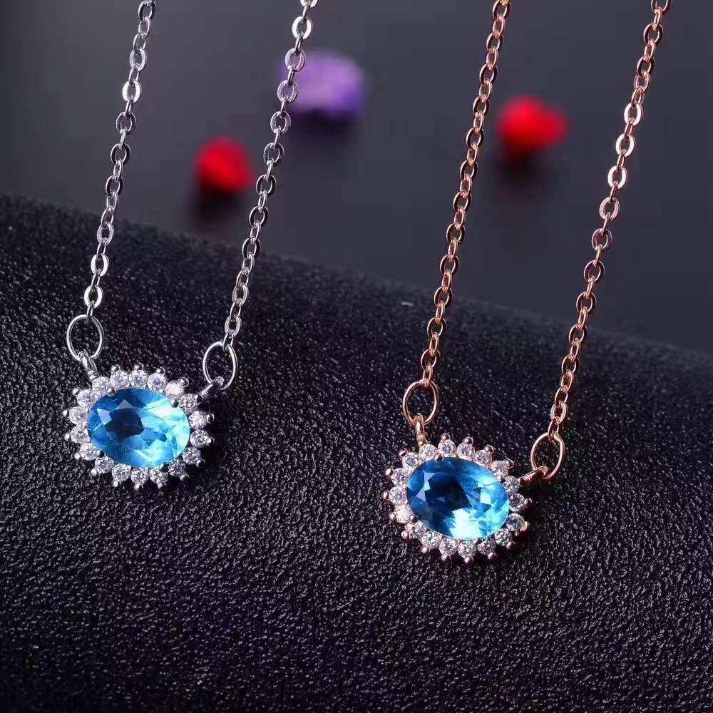 KJJEAXCMY boutique jewels 925 sterling silver inlaid with blue topaz ring + pendant + earrings necklace with silver gold color. - 3