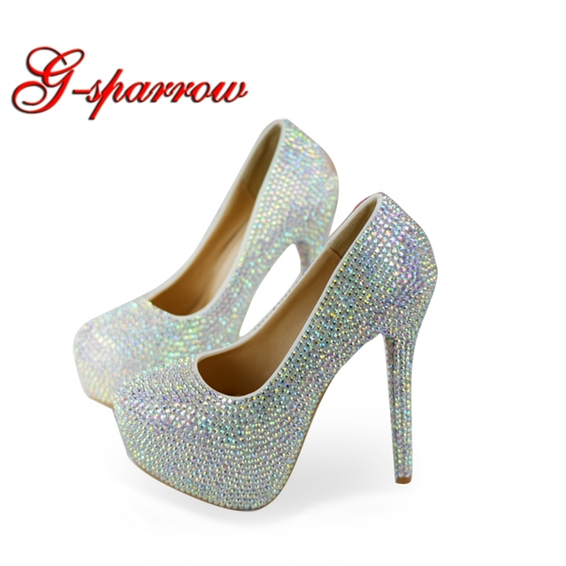 Rhinestone Super High Heel Wedding Shoes Gorgeous AB Crystal Cinderella  Prom Shoes Matric Graduate Farewell Ceremony 9d22181ce82d