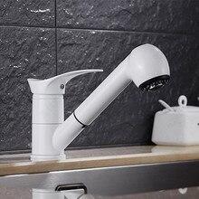 Бесплатная доставка белой краской раковина смеситель с одной ручкой латунь кухонный смеситель и вытащить ванная краны